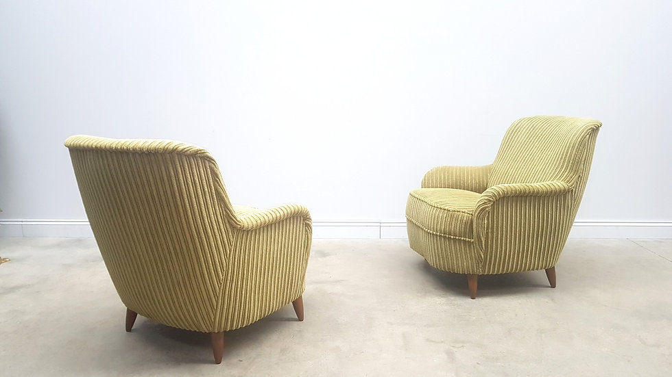 1950 Mid Century Lounge Armchairs in Olive Green Corduroy, 1 of 2