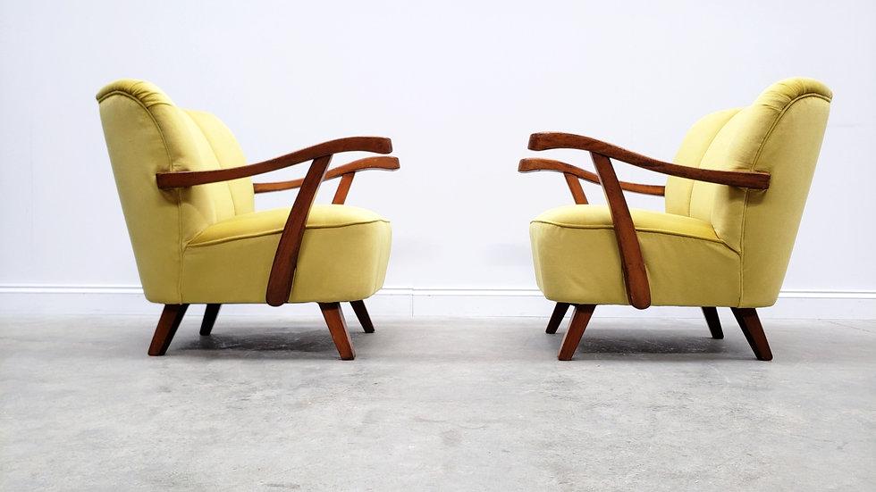 1960 Mid Century Cocktail, Club Chair in Yellow Velvet