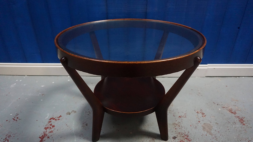 Dark Oak Czech Coffee Table by Kozelka & Kropacek, 1950's