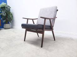 Mid Century Czech Armchair by Ton 1950 in Grey and Black