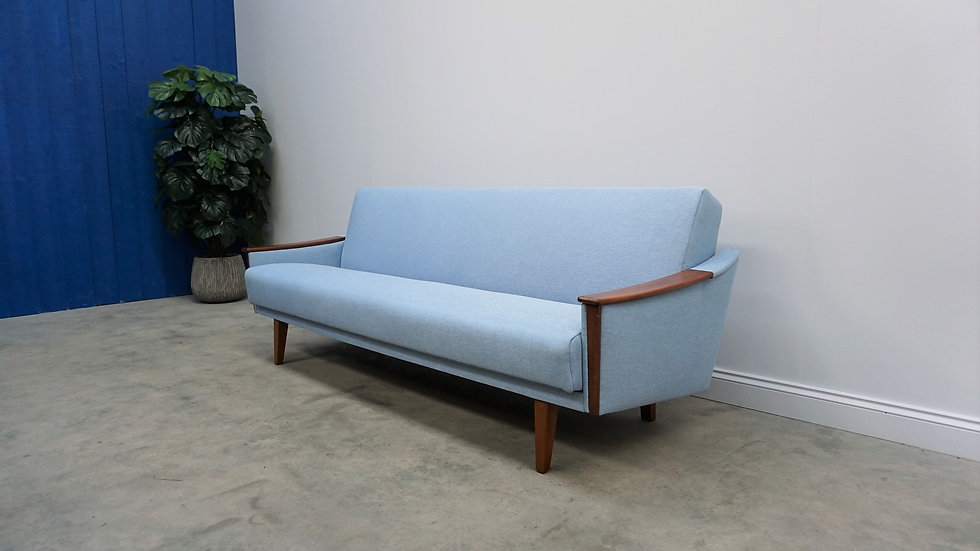 Mid Century Danish 3 Seat Sofa Bed from the 60's, in Light Blue Tweed
