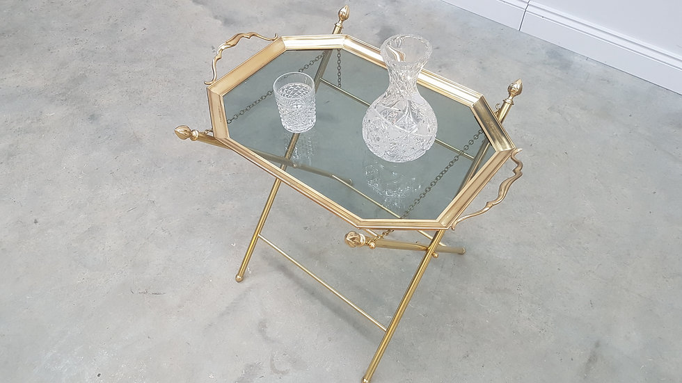 French Brass Side Table with Glass Top, Hollywood Regency, 1960