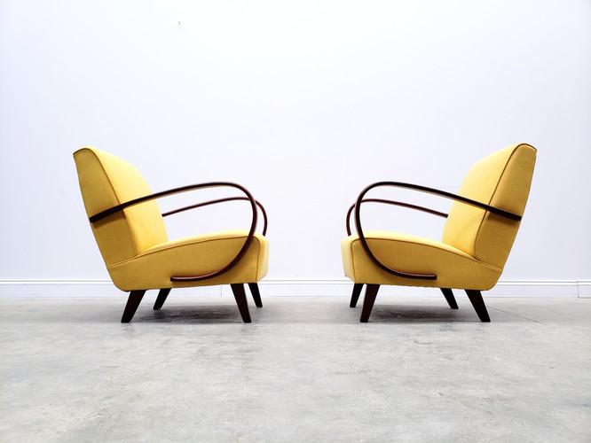 Pair of 1930 Jindrich Halabala Bentwood Armchair in Yellow Tweed