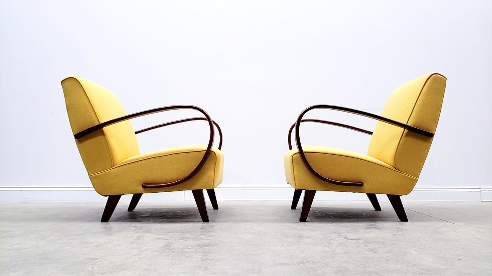 1930 Jindrich Halabala Bentwood Armchair in Yellow Tweed