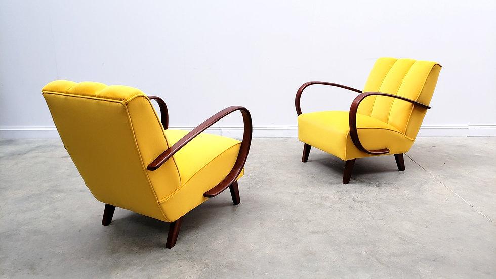 1930 Jindrich Halabala Bentwood Armchair in Yellow Velvet