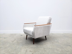 1960 Danish Lounger Club Chair in Light Grey Upholstery