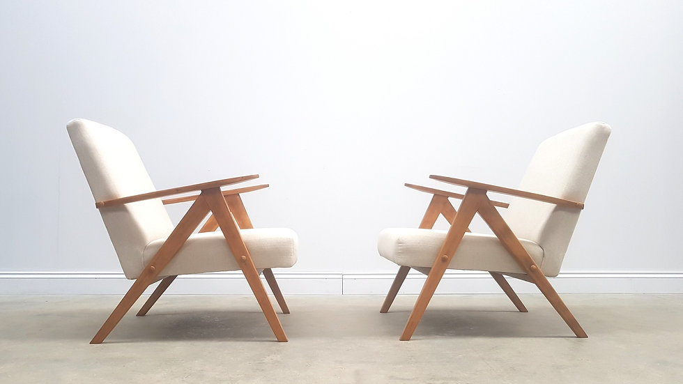 Century Easy Chairs Model B 310 Var in Creme, 1960, 1 of 2