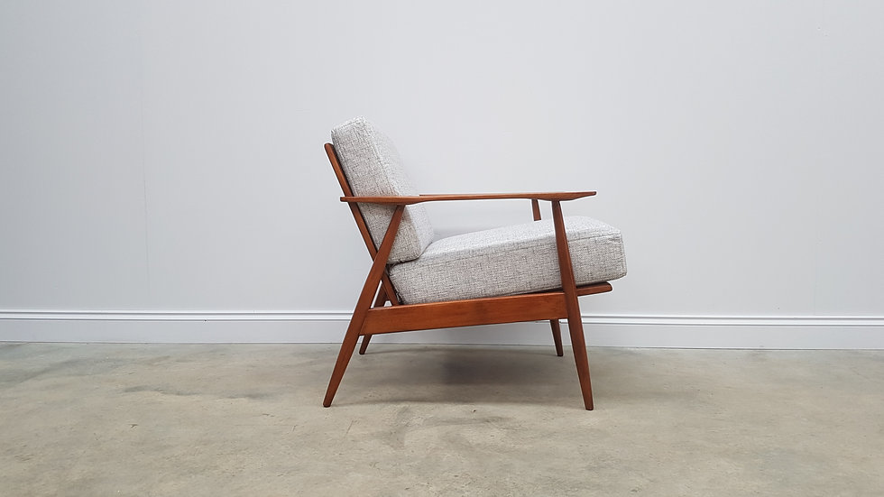 1960's Danish Lounger Chair in Light Grey Upholstery