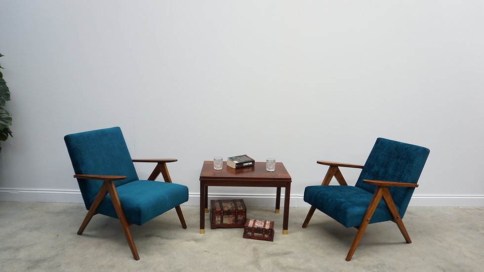 Pair of 1960 Mid Century Easy Chairs Model B 310 Var in Blue Velvet