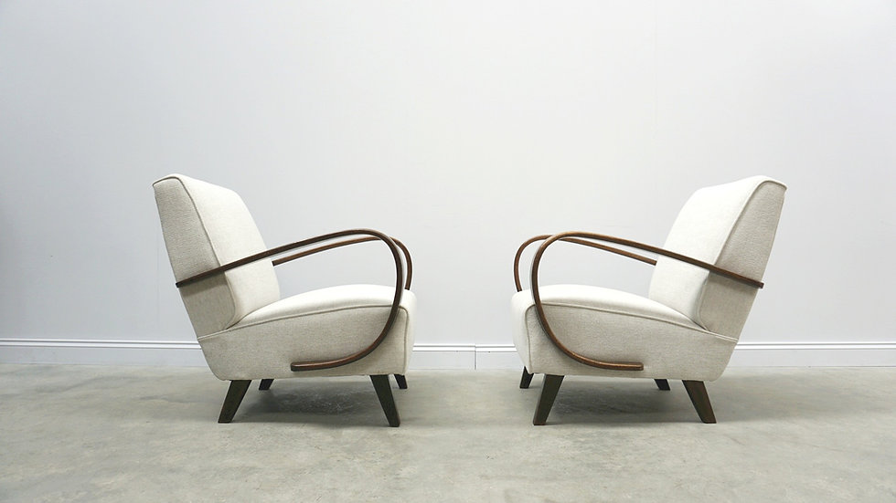 1930 Jindrich Halabala Bentwood Armchairs in Light Grey, 1 of 2