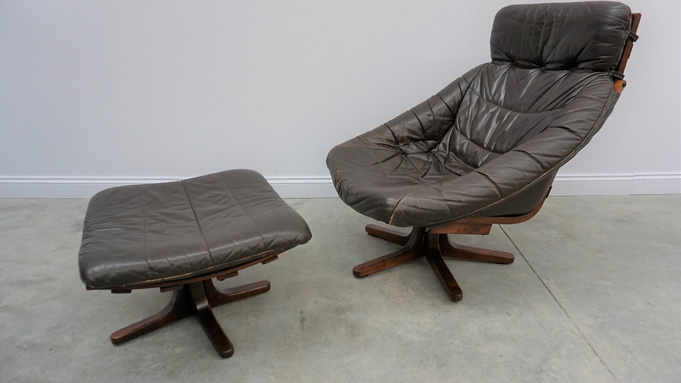 Scandinavian Swivel Leather Chair with Ottoman, 1960s