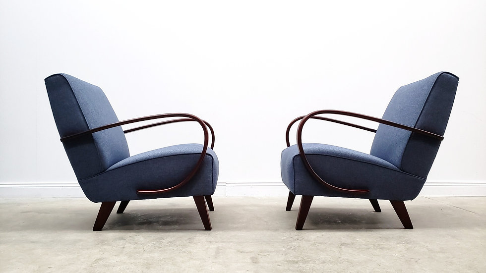 1930 Jindrich Halabala Bentwood Armchairs in Navy Blue, 1 of 2