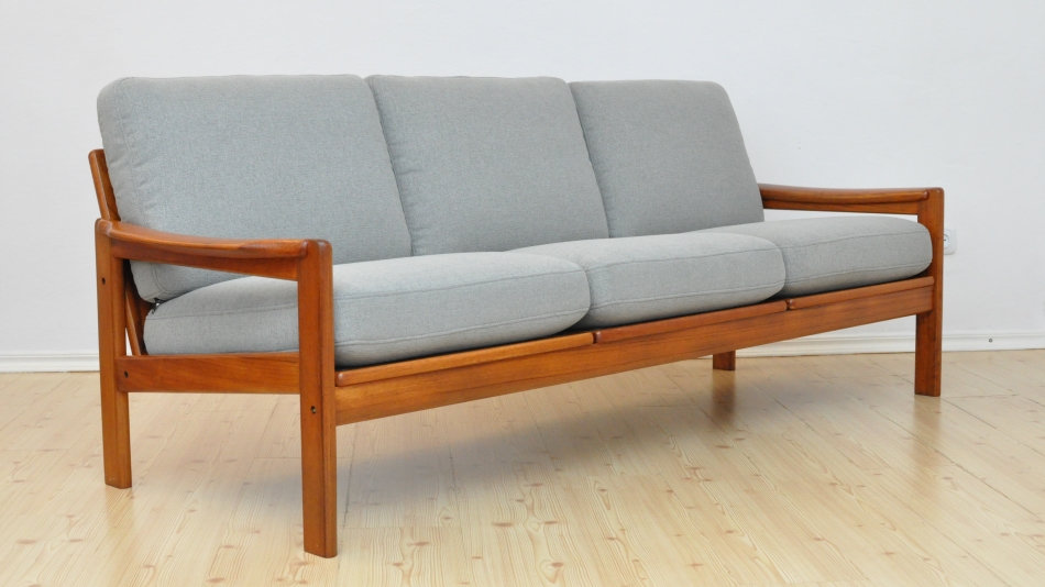 Danish 3 Seat Sofa Mid Century 1970's