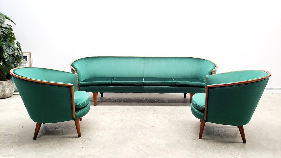 1950 Mid Century French Living Room Set in Luxury Green Velvet