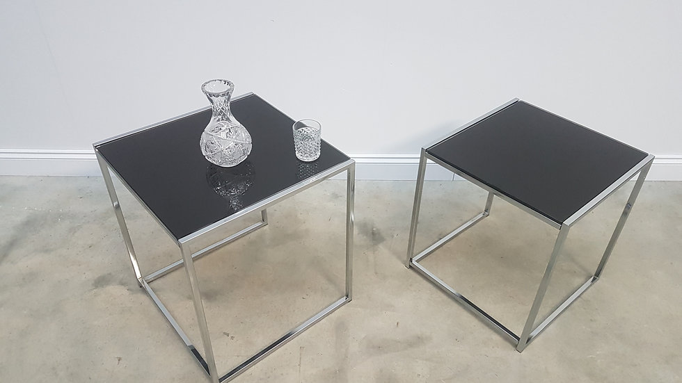 Set of Two Mid Century Black Glass Top Side Tables