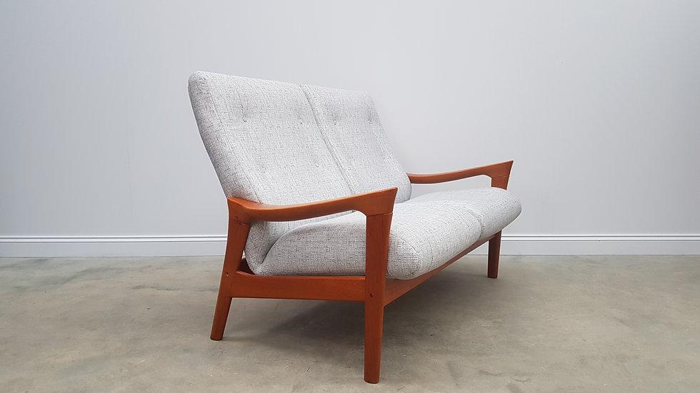 Mid Century Danish Teak 2 Seat High Back Sofa By Vamdrup Stolefabrik 1960