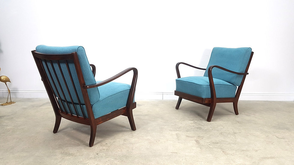 Mid Century Loungers in Blue Upholstery, 1940 retro art deco