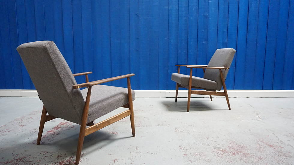 H. Lis Mid Century Modern Armchair in Light Grey, from 1970's, Set of 2