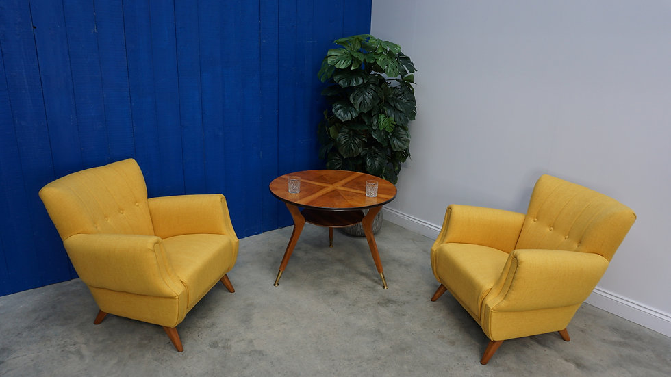 1960's Art Deco Armchairs in Yellow, Set of 2