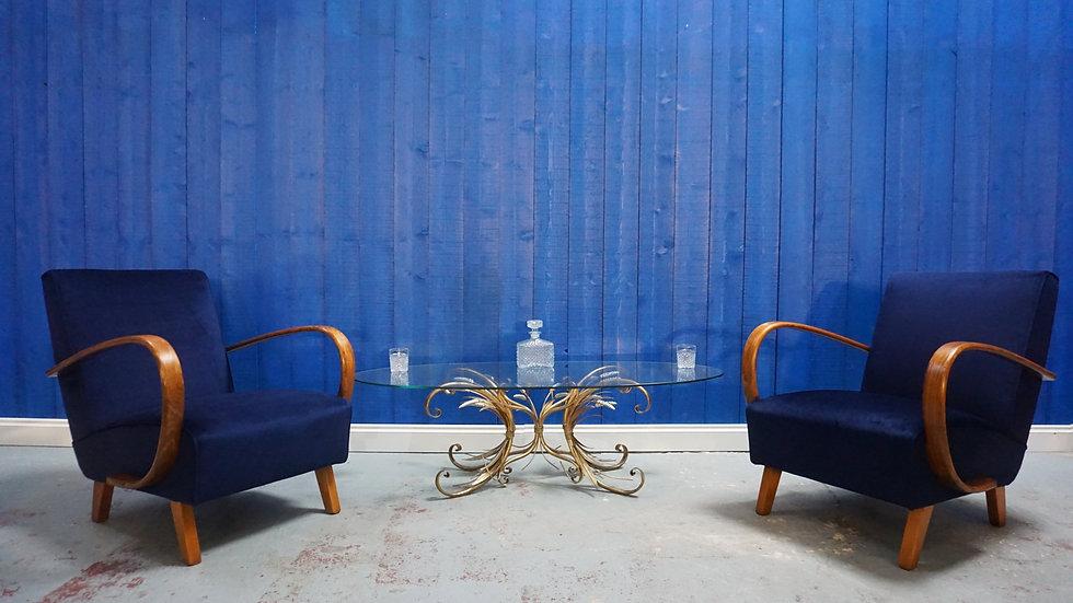 Jindrich Halabala Bentwood Armchairs in Navy Blue Velvet, Thonet 1930, Set of 2