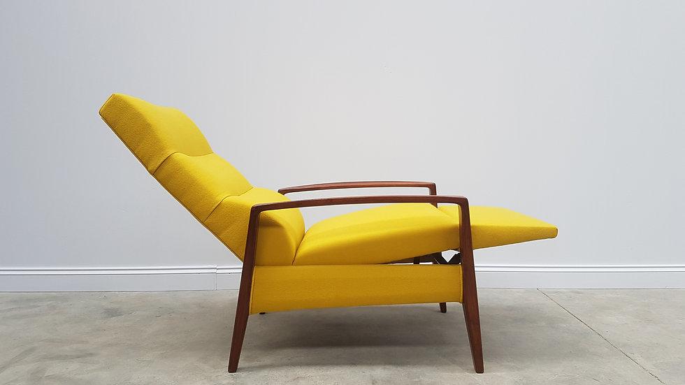 1960's Mid Century Danish Recliner Armchair in 100% Yellow Wool