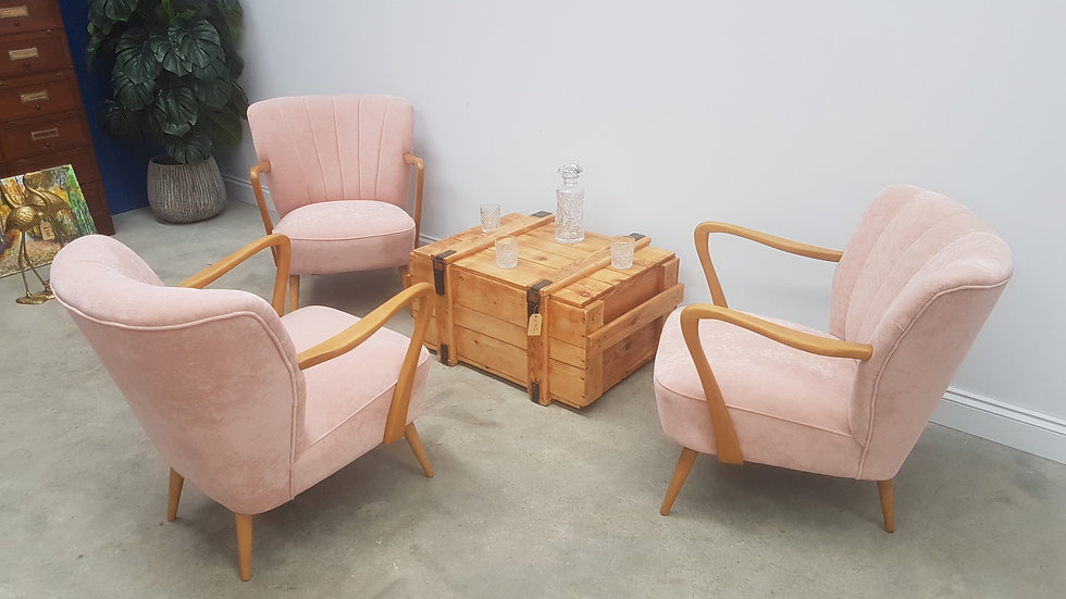 Set of Mid Century Cocktail Chairs + Wooden Box