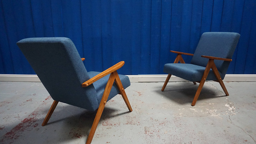 Mid Century Modern Armchairs from 1960's in Blue Tweed, Set of 2