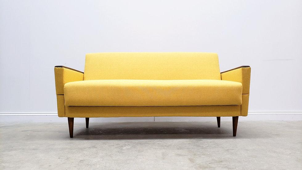1960 Mid Century Danish Sofa Day Bed in Yellow