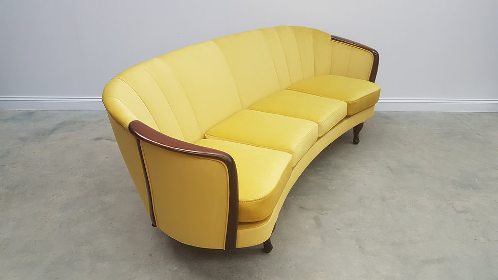 1950 French Four Seat Curved Sofa in Luxury Golden Velvet