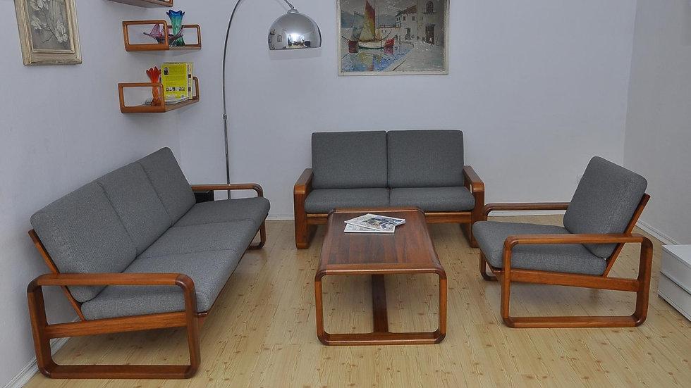Danish Teak Living Room Set, 3 + 2 + 1 + Table 1970s