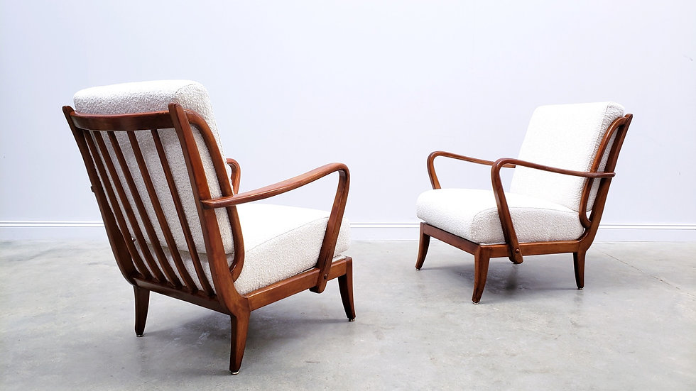 1950 French Armchair in Premium Ivory Boucle