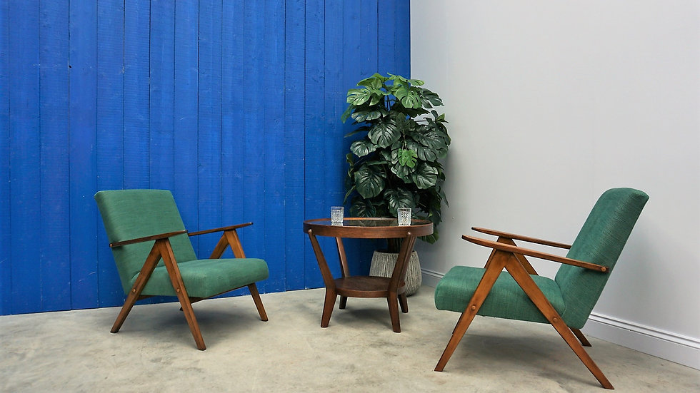 Model B 310 Var Mid Century Easy Chairs, in Green, 1960, Set of 2