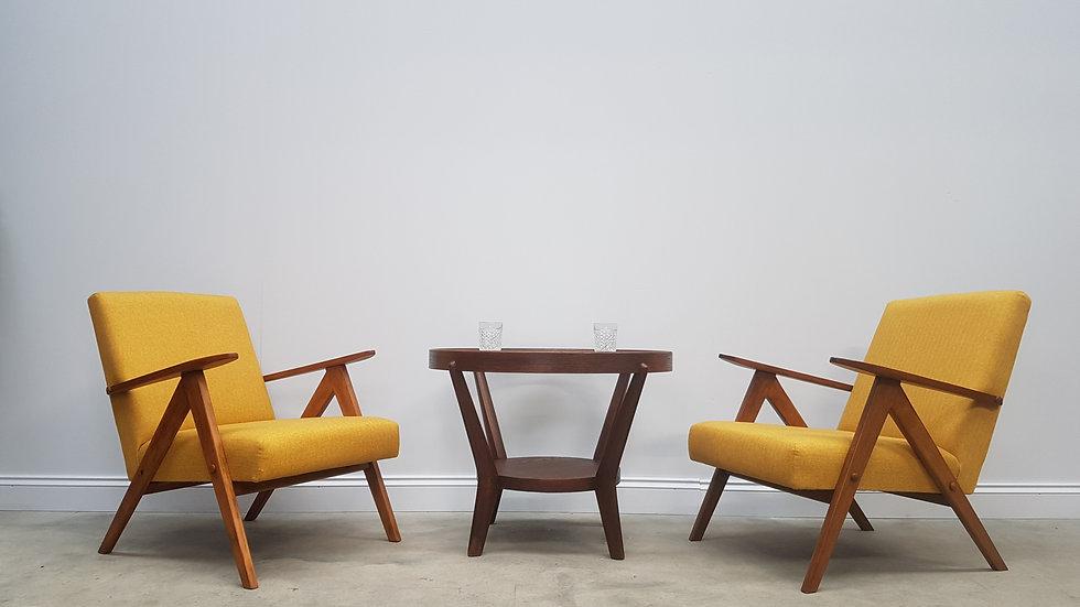 Pair of Mid Century Easy Chairs Model B 310 Var in Yellow Tweed, 1960