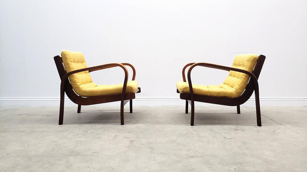 1940 Lounge Chairs by K. Kozelka & A. Kropacek for Interier Praha, in Yellow