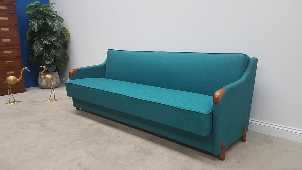 Mid Century Danish 3 Seat Sofa Bed from the 60's, in Turquoise