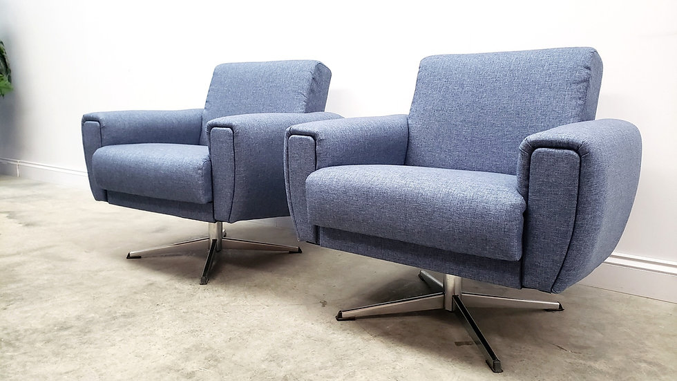 Mid Century Danish Armchairs Chrome Swivels in Navy Blue Upholstery