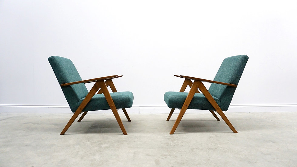 Mid Century Easy Chairs Model B - 310 Var in Green, 1 of 2