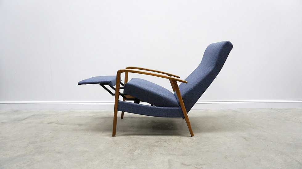 1960's Mid Century Danish Recliner Armchair in Navy Blue