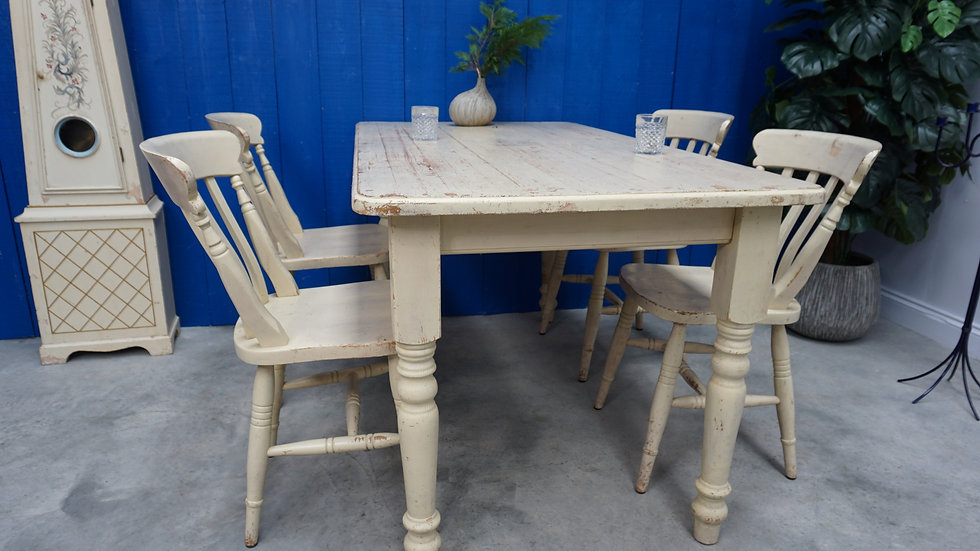 White Vintage Farmhouse Table, Four Chairs Set Country Village Kitchen Dining