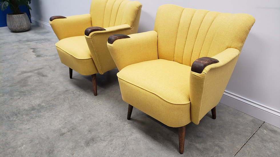 1960 Mid Century Cocktail, Club Chairs, in Yellow Upholstery