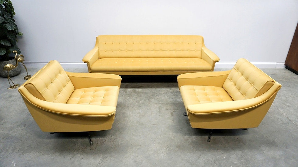 Mid Century Living Room Set of Sofa + Armchairs in Golden Sand Velvet, 1960