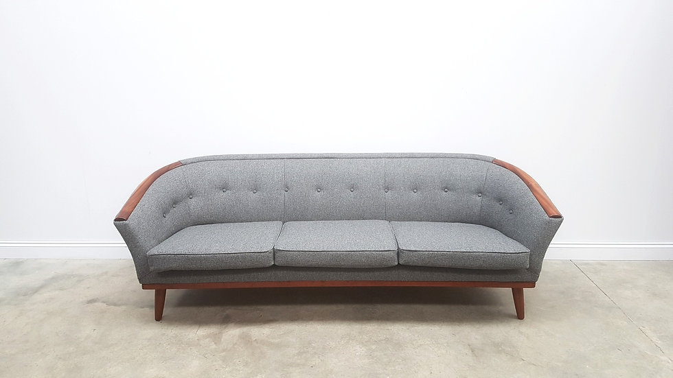 Mid Century Danish 3 Seat Sofa in 100% Grey Wool, 1950