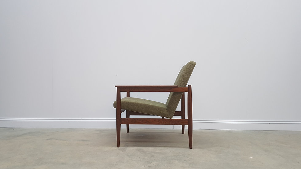 1960's Danish Easy Chair in Forest Green Wool Upholstery
