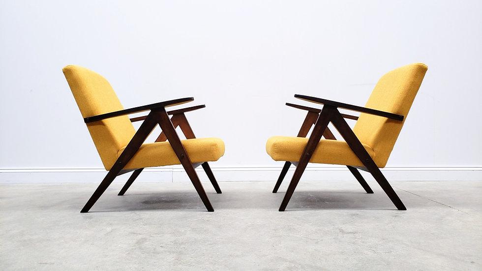 Mid Century Easy Chair Model B - 310 Var in Yellow Tweed