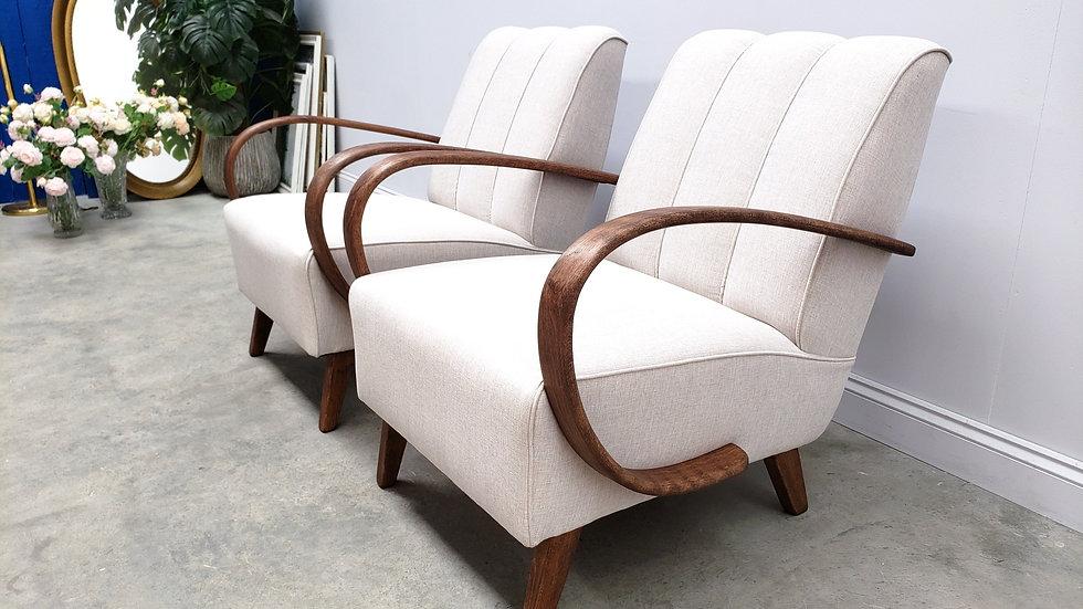 Jindrich Halabala Bentwood Armchair in Light Grey