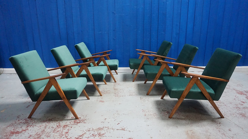 Mid Century Lounge Chairs in Royal Green Velvet, 1 of 8