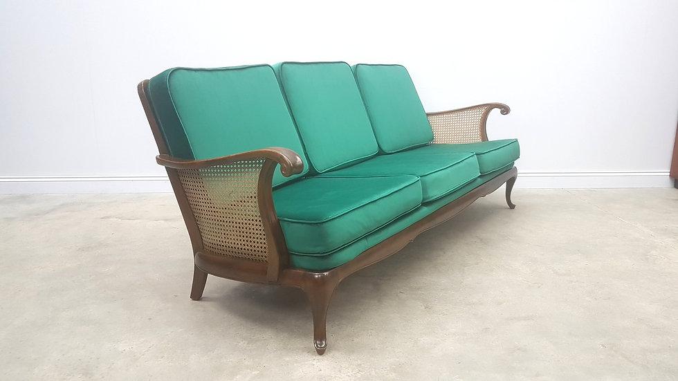 1940 Art Deco 3 Seat Rattan Sofa in Royal Green Velvet