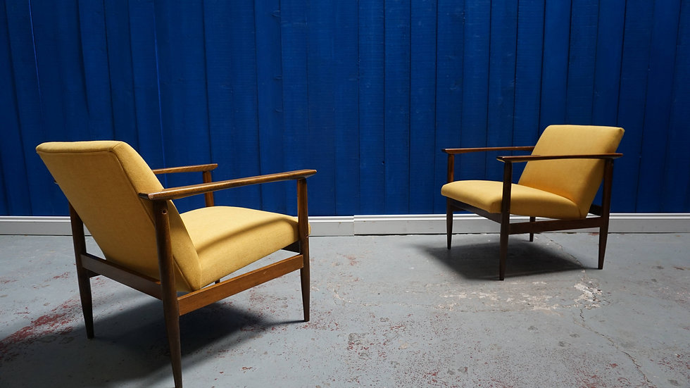 Mid Century Club Chairs in Yellow, 1960's, Set of 2