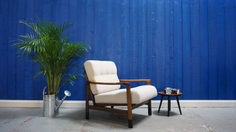 Mid Century Modern Armchair​ from 1960's in White Cream