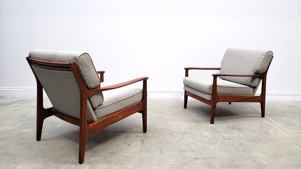 1960's Mid Century Danish Recliner Armchairs in Grey, 1 of 2